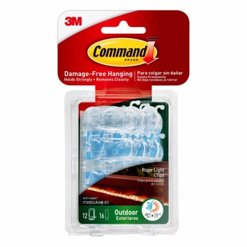 3M Command Outdoor Damage-Free Rope Light Clips - 12 Pack Perspective: front