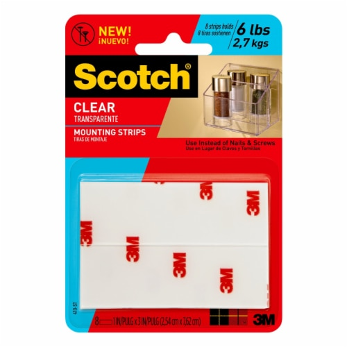 Scotch® Clear Mount Tape Strips - 8 Pack Perspective: front