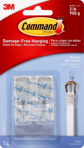 Command™ Damage-Free Hanging Medium Wire Hooks - Clear Perspective: front