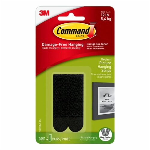 Command Damage-Free Picture Hanging Strips - Black Perspective: front