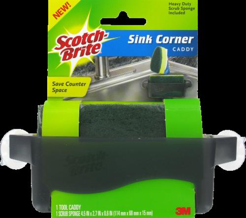 Scotch-Brite™ Corner Sink Caddy with Heavy Duty Scrub Sponge Perspective: front
