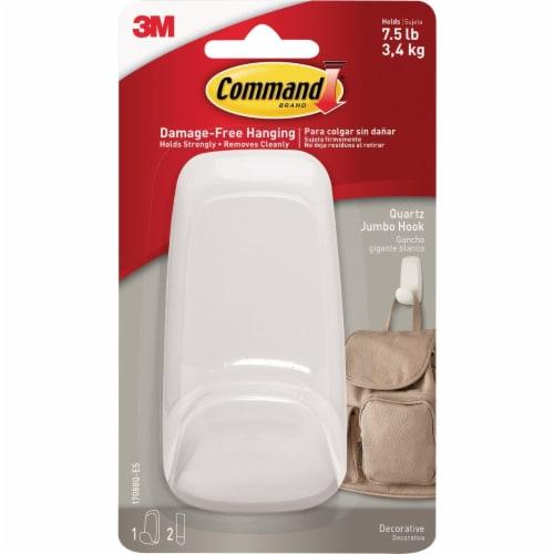 Command™ Decorative Damage-Free Hook - Quartz Perspective: front