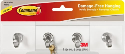 Command™ Damage-Free Hanging Key Rail with Decorative Hooks Perspective: front