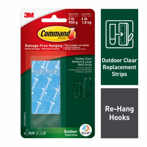 Command™ Outdoor Damage-Free Refill Pack - Clear Perspective: front