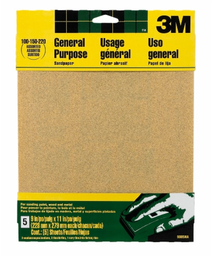 3M General Purpose Assorted Grit Sandpaper - 5 pc - Natural Perspective: front