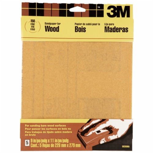 3M Bare Wood 9 In. x 11 In. 150 Grit Fine Sandpaper (5-Pack) 9036NA Perspective: front