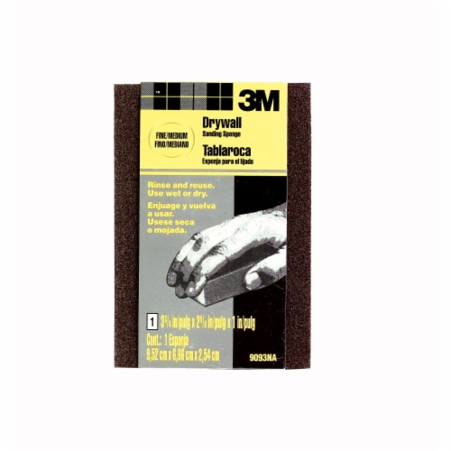 3M Small Area Fine/Medium Drywall Sanding Sponge - Black Perspective: front
