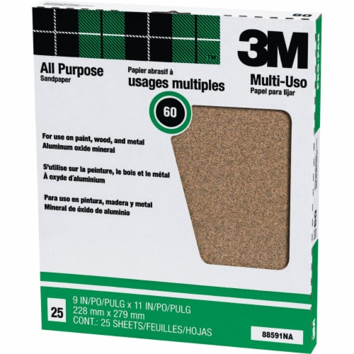 3M All-Purpose 9 In. x 11 In. 60 Grit Coarse Sandpaper (25-Pack) 88591NA Perspective: front