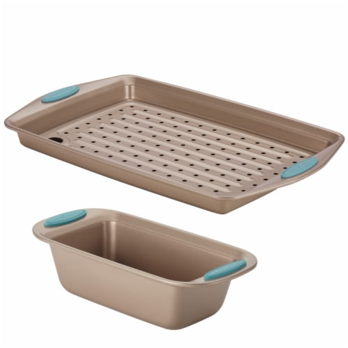 Rachael Ray Nonstick Crisper and Bread Pan Set - Brown/Blue Perspective: front