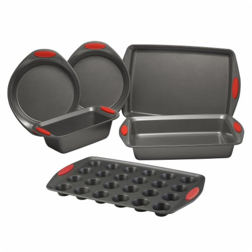 Rachael Ray Yum-o! Nonstick Bakeware Oven Lovin' Bakeware Set - Gray/Red Perspective: front
