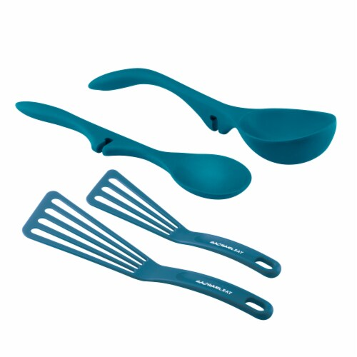 Rachael Ray Lazy Tool Kitchen Spoon Ladle and Turner Set - Marine Blue Perspective: front