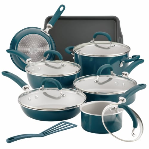 Rachael Ray Create Delicious Aluminum Nonstick Cookware Set - Teal Perspective: front