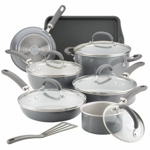 Rachael Ray Create Delicious Aluminum Nonstick Cookware Set - Gray Perspective: front