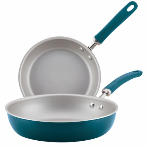 Rachael Ray Create Delicious Aluminum Nonstick Frying Pan Set - Teal Perspective: front