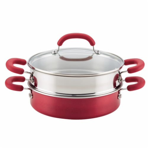 Rachael Ray Create Delicious Aluminum Nonstick Steam Set - Red Perspective: front