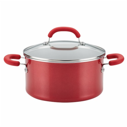 Rachael Ray Create Delicious Aluminum Nonstick Stockpot - Red Perspective: front