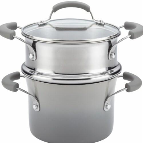 Rachael Ray Classic Brights Nonstick Sauce Pot & Steamer Insert Set, 3 qt. - Sea Salt Gray Perspective: front
