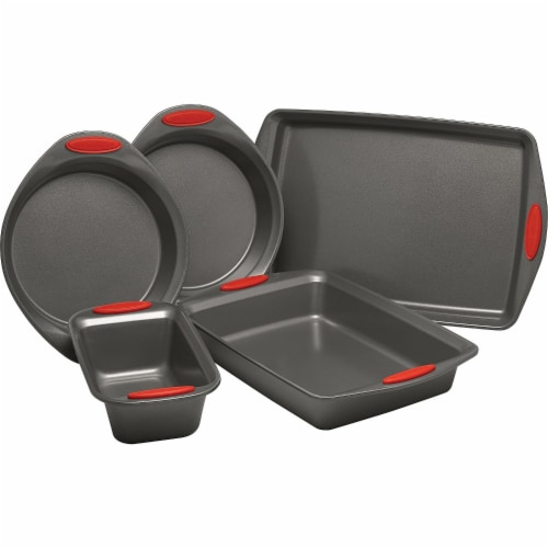 Rachael Ray 47020 Yum-O Nonstick Oven Lovin Bakeware Set with Handles, Gray & Red - 5 Piece Perspective: front