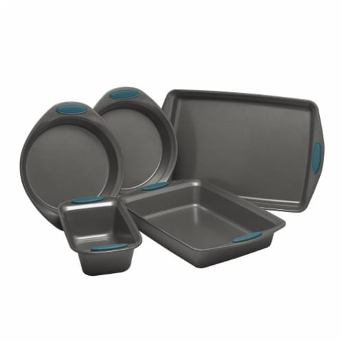 Rachael Ray Yum-O Nonstick Oven Lovin Bakeware Set with Handles, Gray & Marine Blue 5 Piece Perspective: front