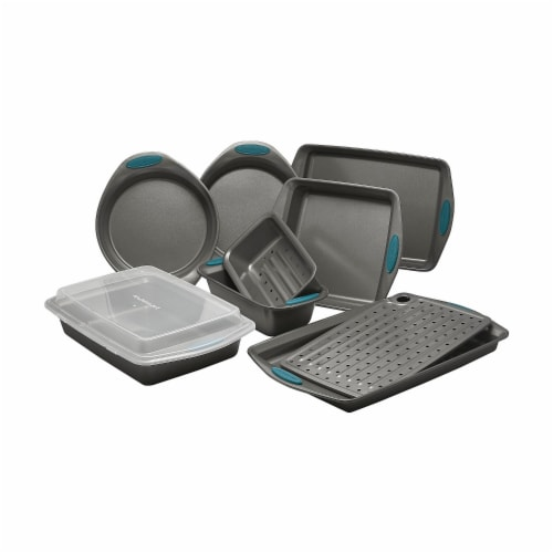 Rachael Ray 47025 Yum-O Nonstick Oven Lovin Bakeware Set with Handles, Gray & Marine Blue - 1 Perspective: front