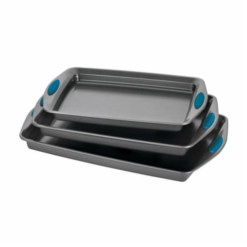 Rachael Ray Nonstick Bakeware Cookie Pan Set - 3 Piece - Gray with Marine Blue Silicone Perspective: front