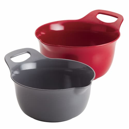 Rachael Ray Tools & Gadgets Nesting Mixing Bowl Set, 2 Piece - Red & Gray Perspective: front