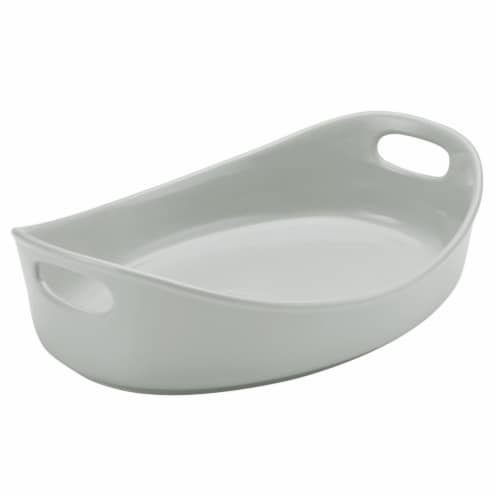 Rachael Ray 47657 Stoneware Bubble & Brown Oval Baker, 4.5 qt. - Light Sea Salt Gray Perspective: front