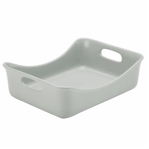 Rachael Ray 47660 Ceramics Rectangular Baker, 9 x 12 in. - Light Sea Salt Gray Perspective: front