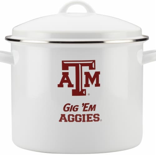 College Kitchen Collection Texas A&M University Enamel-on-Steel Gameday Stockpot, 12 qt Perspective: front
