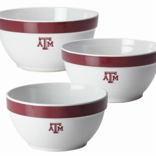 College Kitchen Collection 47676 Texas A&M University Party Bowls - 3 Piece Set, White Perspective: front