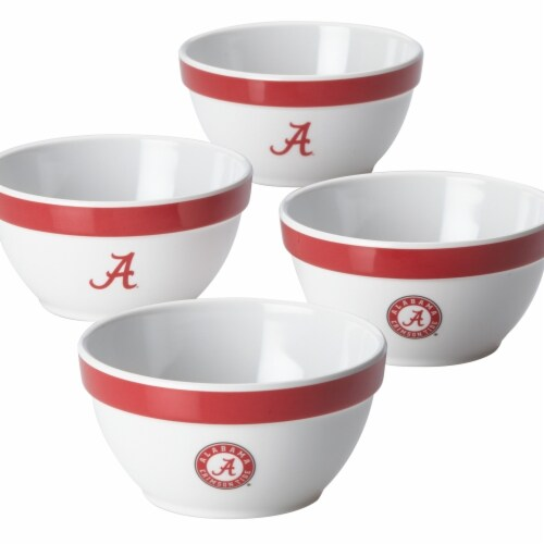 College Kitchen Collection University of Alabama Party Bowls, 4 Piece Set, White Perspective: front