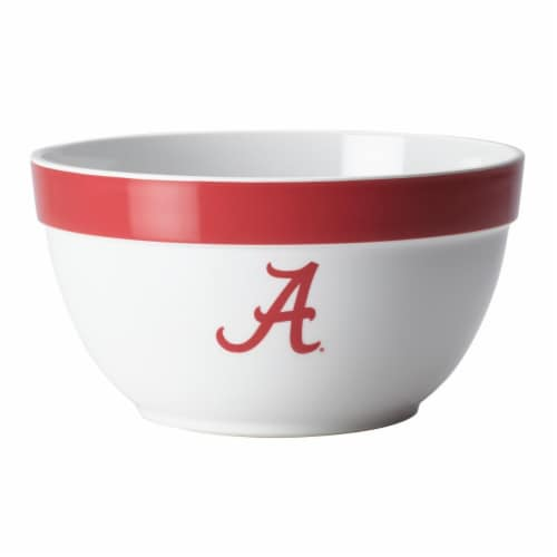 College Kitchen Collection 47679 University of Alabama Big Party Bowl, 4.75 qt. - White Perspective: front