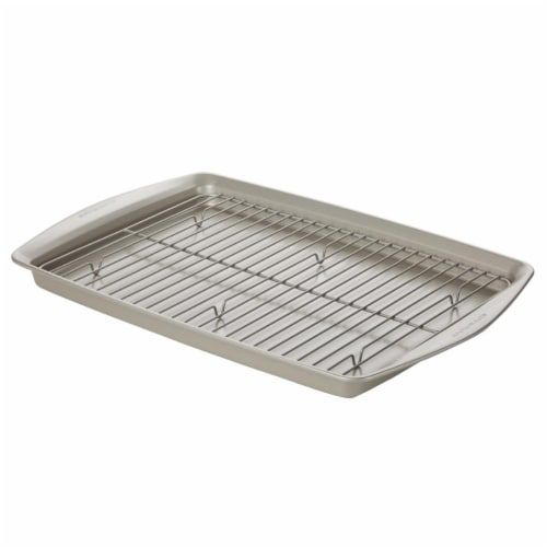 Rachael Ray Nonstick Bakeware Jumbo Cookie Pan with Roasting Rack, 13 x 19 in. - Silver Perspective: front