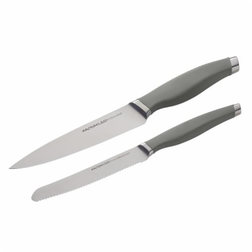 Rachael Ray Cutlery Japanese Stainless Steel Utility Knife Set - Gray, 2 Piece Perspective: front