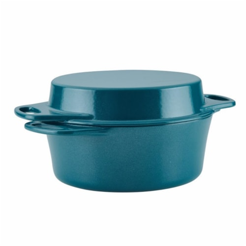 Rachael Ray 4 qt. Cast Iron Double Duty Casserole with 10 in. Griddle Lid, Teal Shimmer Perspective: front