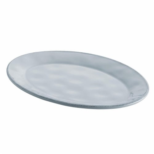 Rachael Ray 10 x 14 in. Cucina Dinnerware Ceramic Oval Platter, Sea Salt Gray Perspective: front
