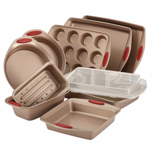 Rachael Ray Cucina Nonstick Bakeware Set - 10 Piece - Latte Brown/Cranberry Red Perspective: front