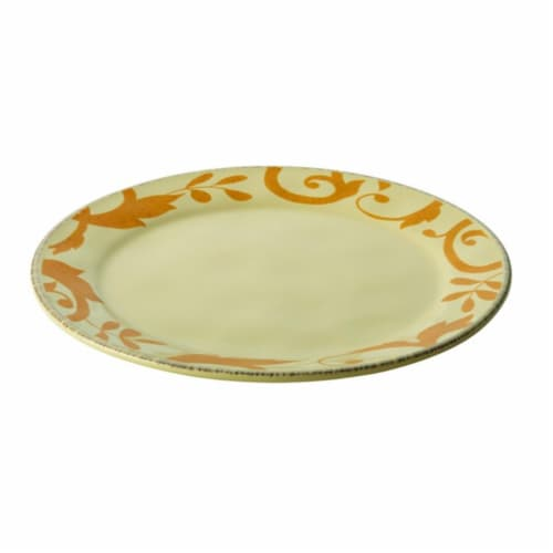 Rachael Ray Dinnerware Gold Scroll 12.5 in. Round Platter, Almond Cream Perspective: front