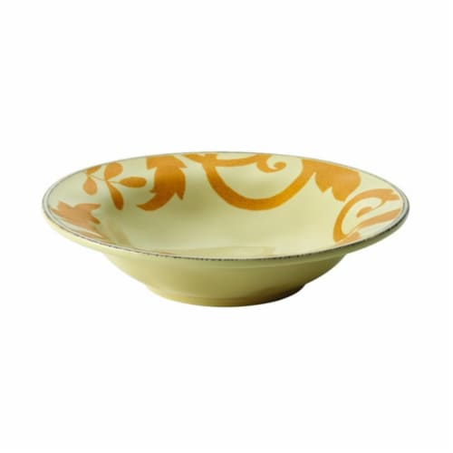 Rachael Ray Dinnerware Gold Scroll 10in. Round Serving Bowl, Almond Cream Perspective: front