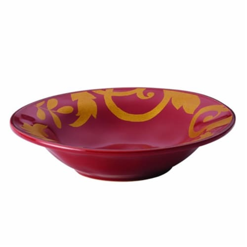 Rachael Ray Dinnerware Gold Scroll 10 in. Round Serving Bowl, Cranberry Red Perspective: front