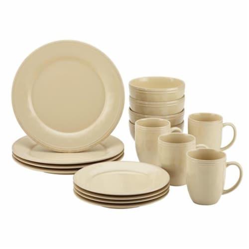 Rachael Ray 55094 Cucina Dinnerware 16-Piece Stoneware Dinnerware Set, Almond Cream Perspective: front