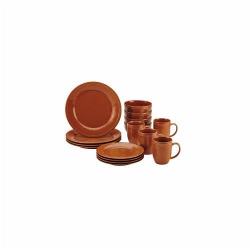 Rachael Ray Cucina 16-Piece Stoneware Dinnerware Set, Pumpkin Orange Perspective: front