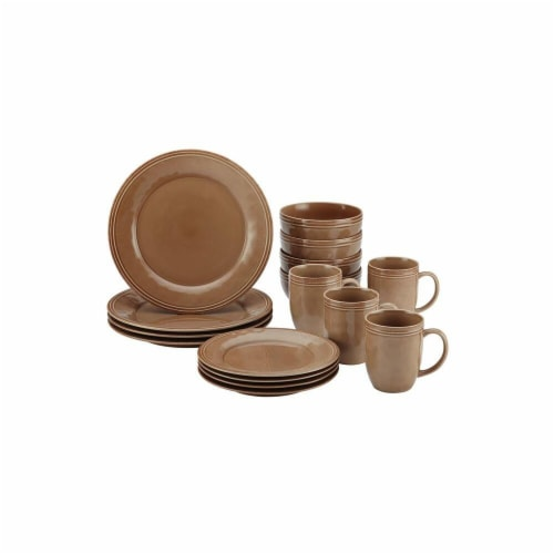 Rachael Ray Cucina 16-Piece Stoneware Dinnerware Set, Mushroom Brown Perspective: front