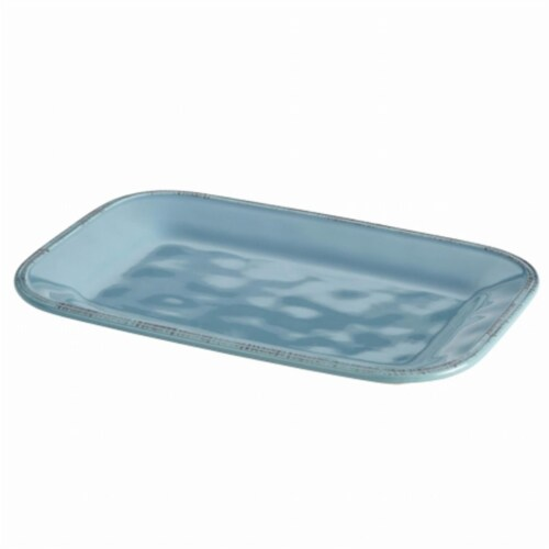 Rachael Ray Rectangular Platter, 8 in. by 12 in., Agave Blue Perspective: front