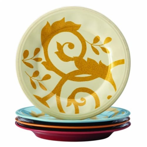 Rachael Ray Dinnerware Gold Scroll 4-Piece Salad Plate Set, Assorted Perspective: front