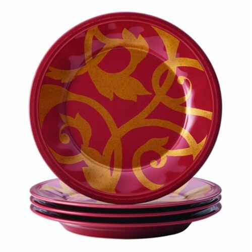 Rachael Ray Dinnerware Gold Scroll 4-Piece Salad Plate Set, Cranberry Red Perspective: front