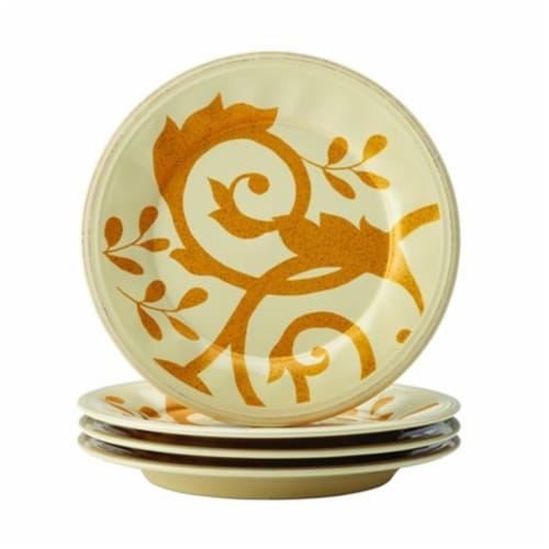 Rachael Ray Dinnerware Gold Scroll 4-Piece Salad Plate Set, Almond Cream Perspective: front