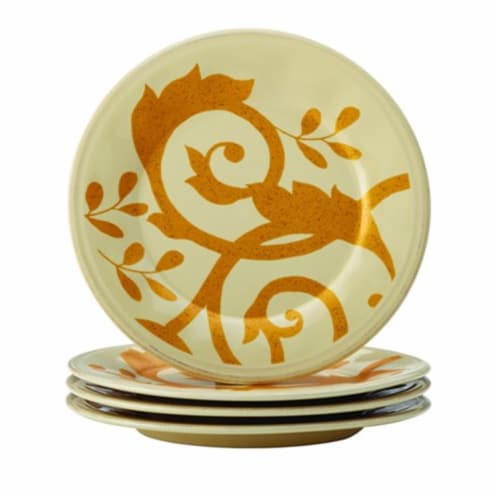 Rachael Ray Dinnerware Gold Scroll 4-Piece Round Appetizer Plate Set, Almond Cream Perspective: front