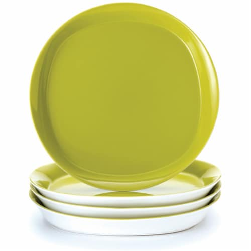Rachael Ray Dinnerware  Round and Square 4-Piece Dinner Plate Set  Green Apple Perspective: front