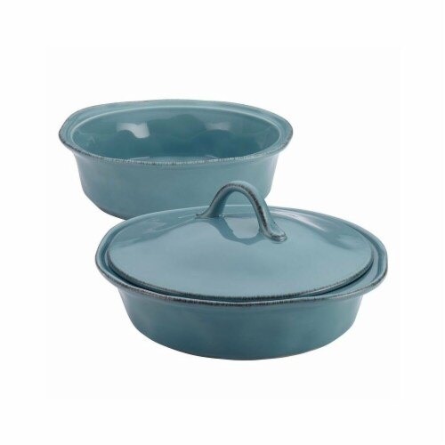 Rachael Ray Set of 3 - 1.5 Qt. and 2 QT. Round Casserole with Shared Lid - agave blue Perspective: front